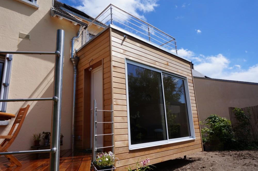 R alisation d 39 une extension de maison en bois loire eco bois for Extension maison osb