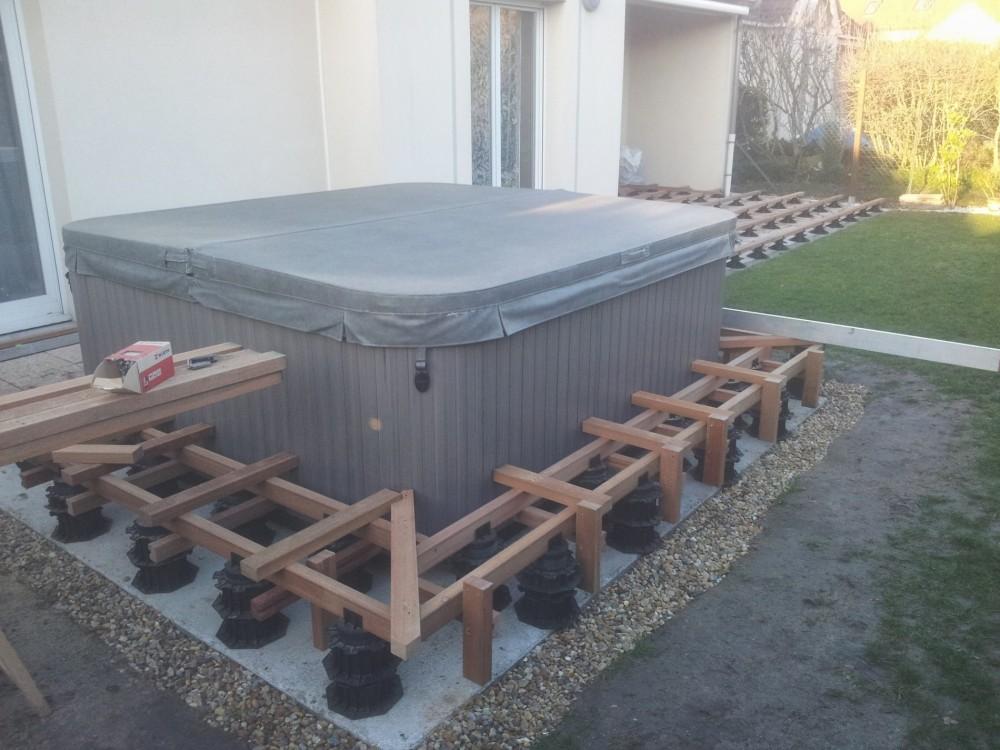 terrasse en bois autour d 39 un spa dans le loiret loire eco bois. Black Bedroom Furniture Sets. Home Design Ideas